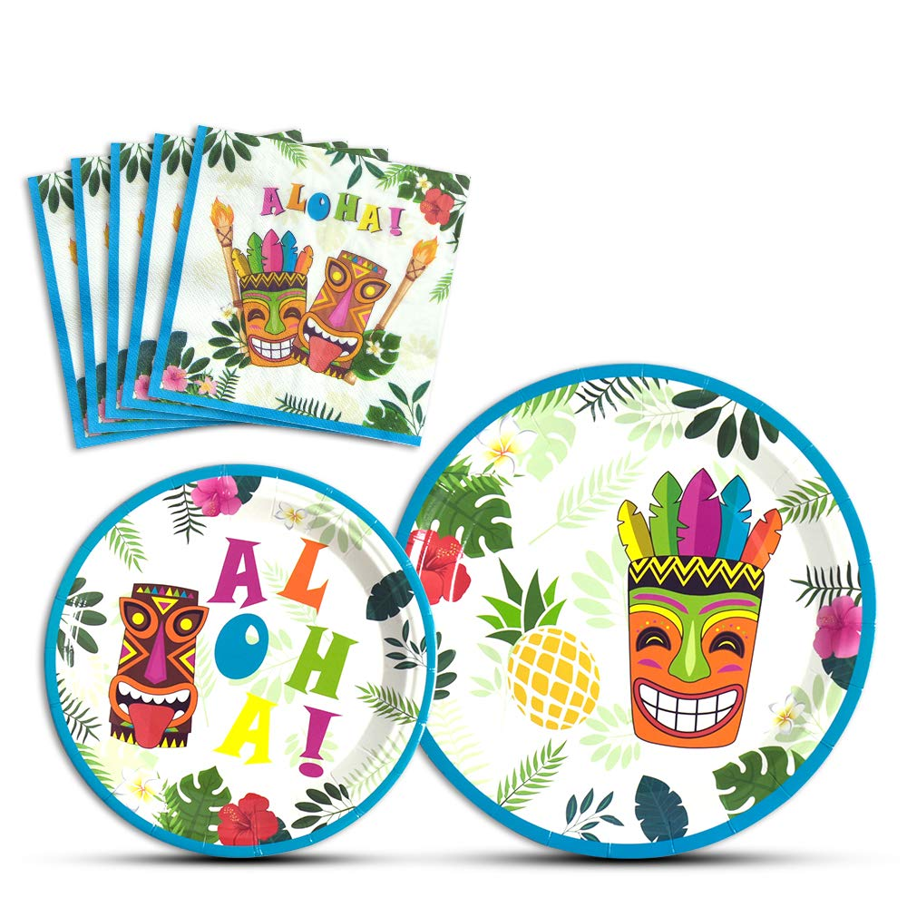 WERNNSAI Hawaiian Aloha Dinner Dessert Plates and Napkins - Luau Tropical Tiki Summer Pool Party Supplies Serves 16 Guests 48 PCS by WERNNSAI