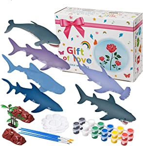 Hairun 40Pcs Shark Painting Kit for Kids Crafts and Arts Set, Paint Your Own Shark Toys Crafts and Art Supplies Party for Boys Girls Age 4-8 Years Old Kid Fun DIY Creative Activity Birthday Gift