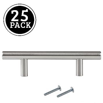 Satin Nickel Kitchen Cabinet Pulls - 3 Inch Bar - 25 Pack of Kitchen  Cabinet Hardware