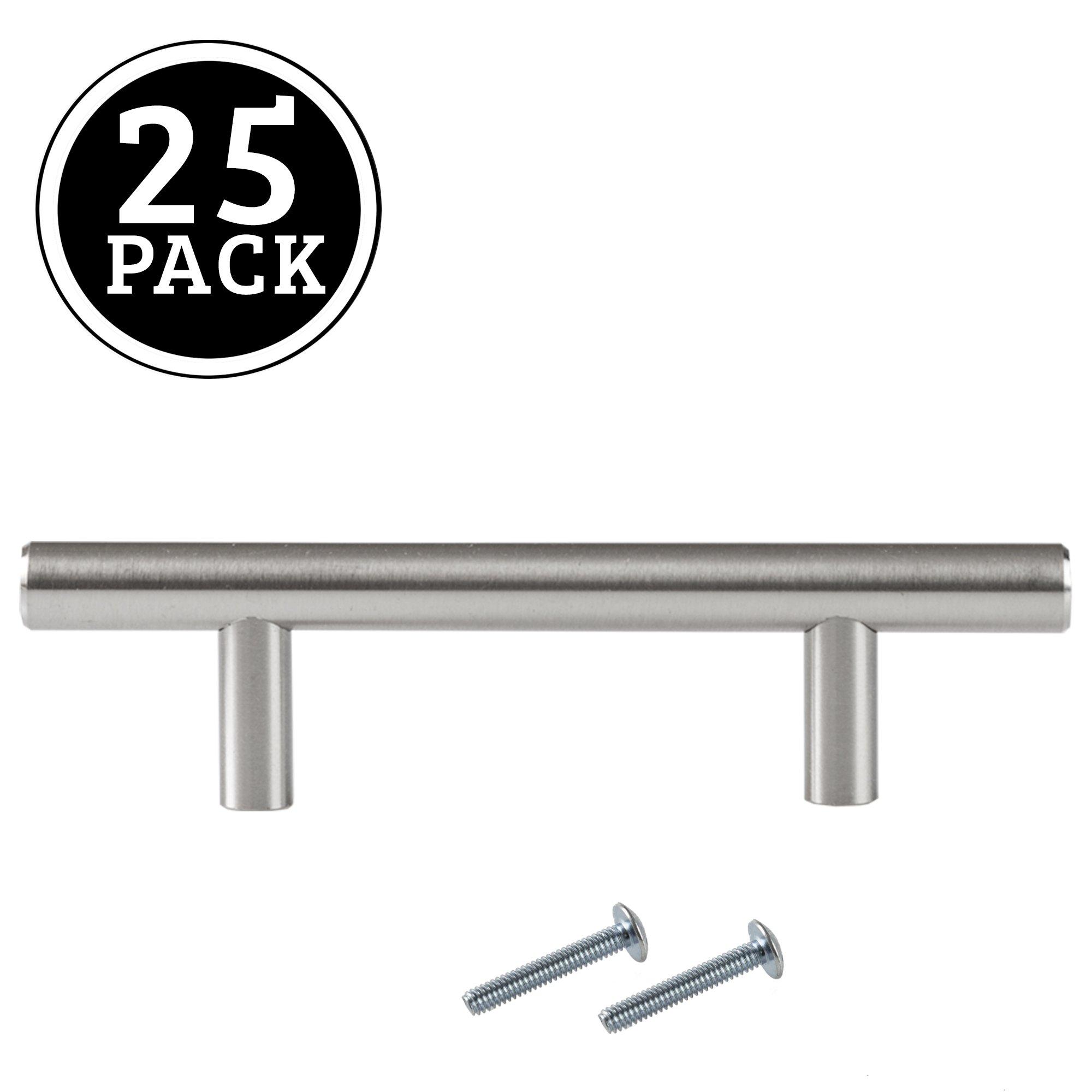 Satin Nickel Kitchen Cabinet Pulls - 3 Inch Bar - 25 Pack of Kitchen ...