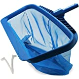 Upgraded Pool Skimmer Net, Heavy Duty Leaf Rake for Cleaning Swimming Pool & Pond, Fine Mesh Deep Bag Catcher with…