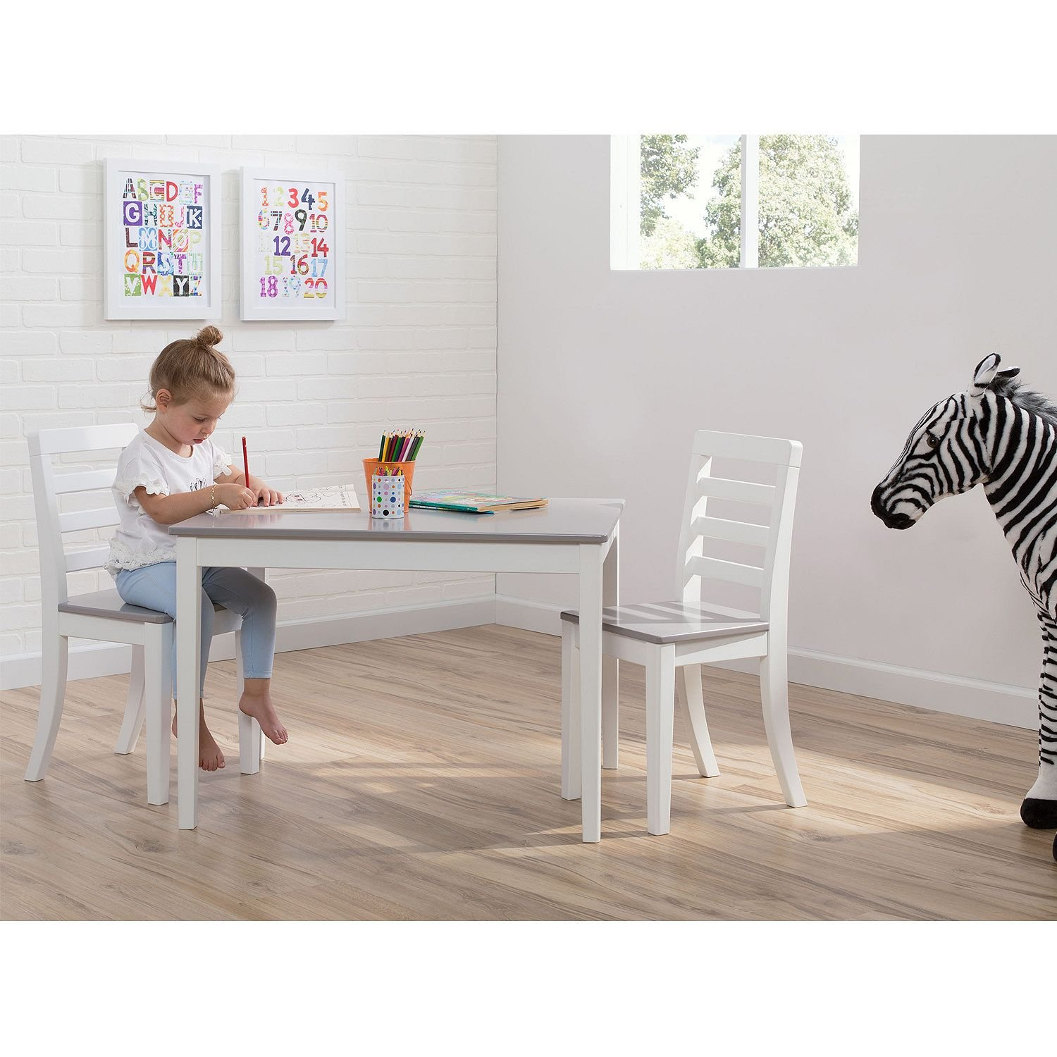 Delta Children Table and Chairs, 3-Piece Set (White and Grey) by Delta Children (Image #3)