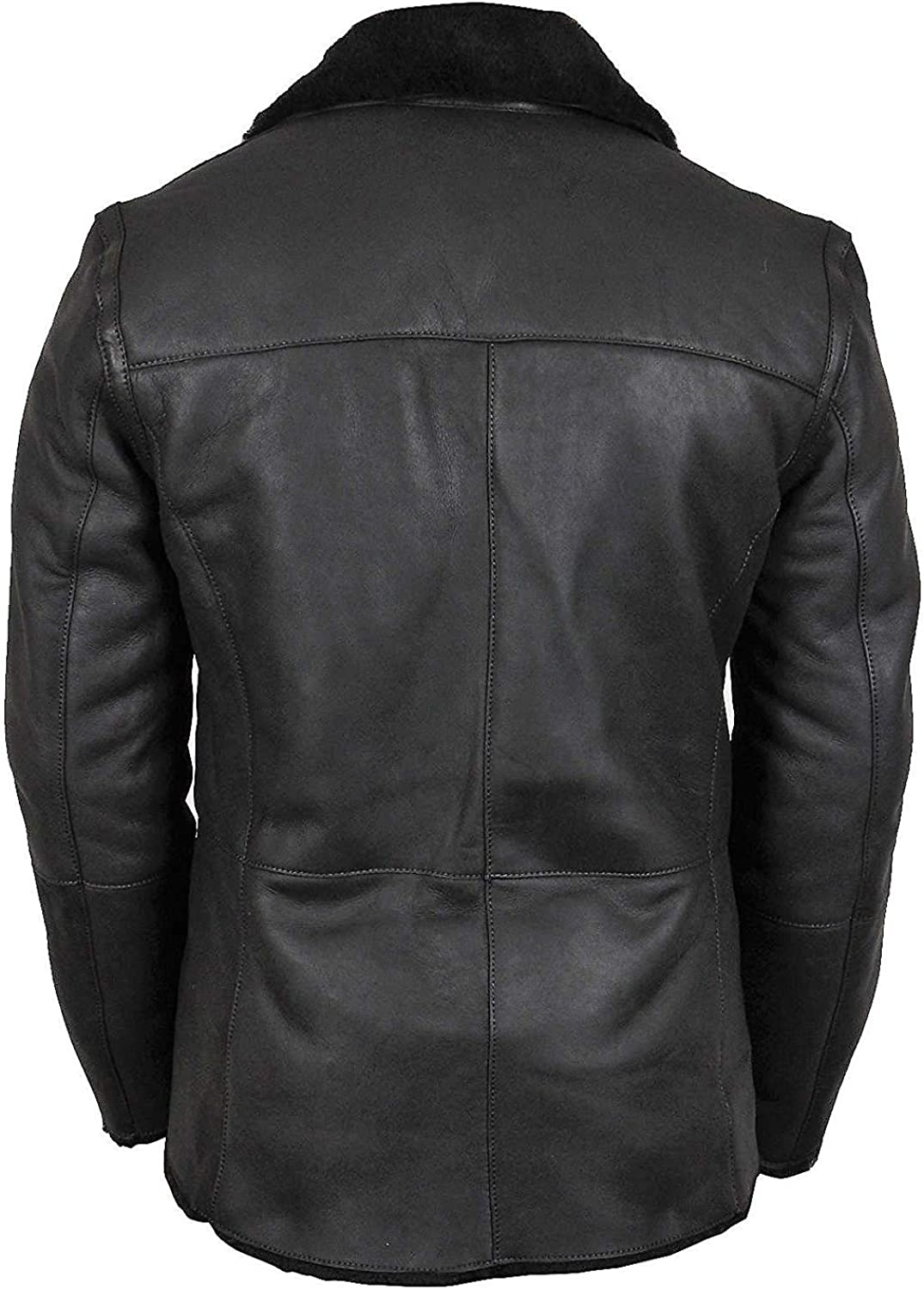 Mens German Military Hip Length Faux Fur Shearling Black Leather Coat