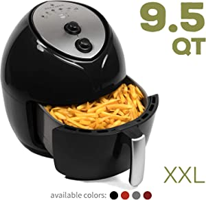 Paula Deen 9.5 QT (1700 Watt) Family-Sized Air Fryer with Rapid Air Circulation System, Single Basket System, Ceramic Non-Stick Coating, Simple Knob Controls, Timer with Automatic Shut-Off, 50 Air Fryer Recipes, 1-Year Warranty (Black Onyx)