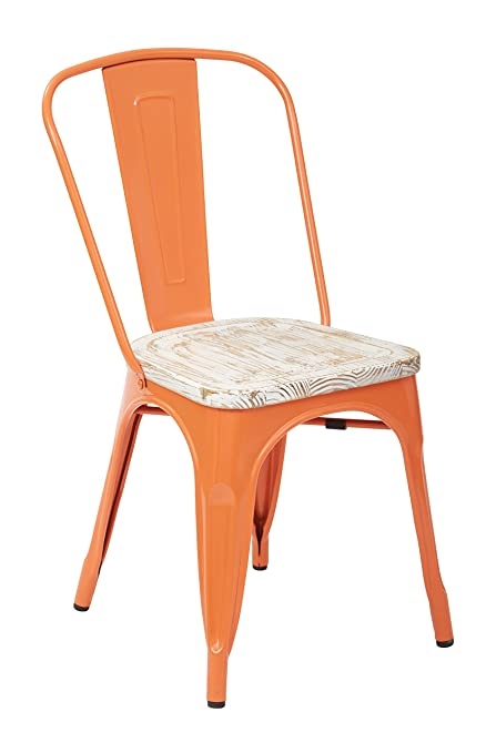 Amazon.com - OSP Designs Bristow Metal Chair with Vintage Wood Seat ...