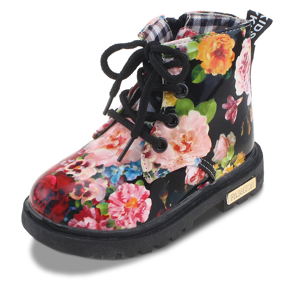 Maxu Kid Girl's Floral Boots Lace Up Booties Black Flower,Toddler Size 7