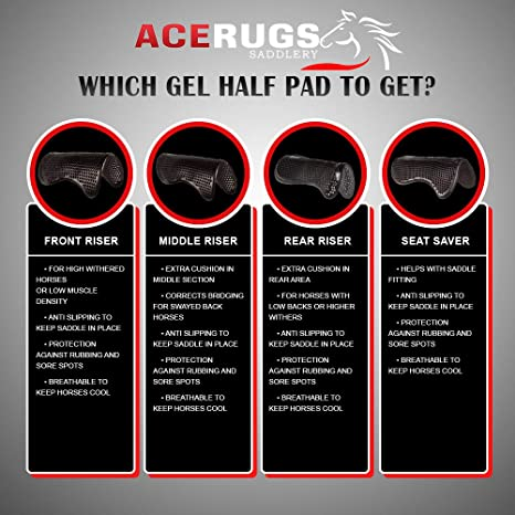 Acerugs English Saddle Half PAD Gel Impact Maximum Support Corrective Front Middle OR Rear Riser Non Slip SEAT Saver