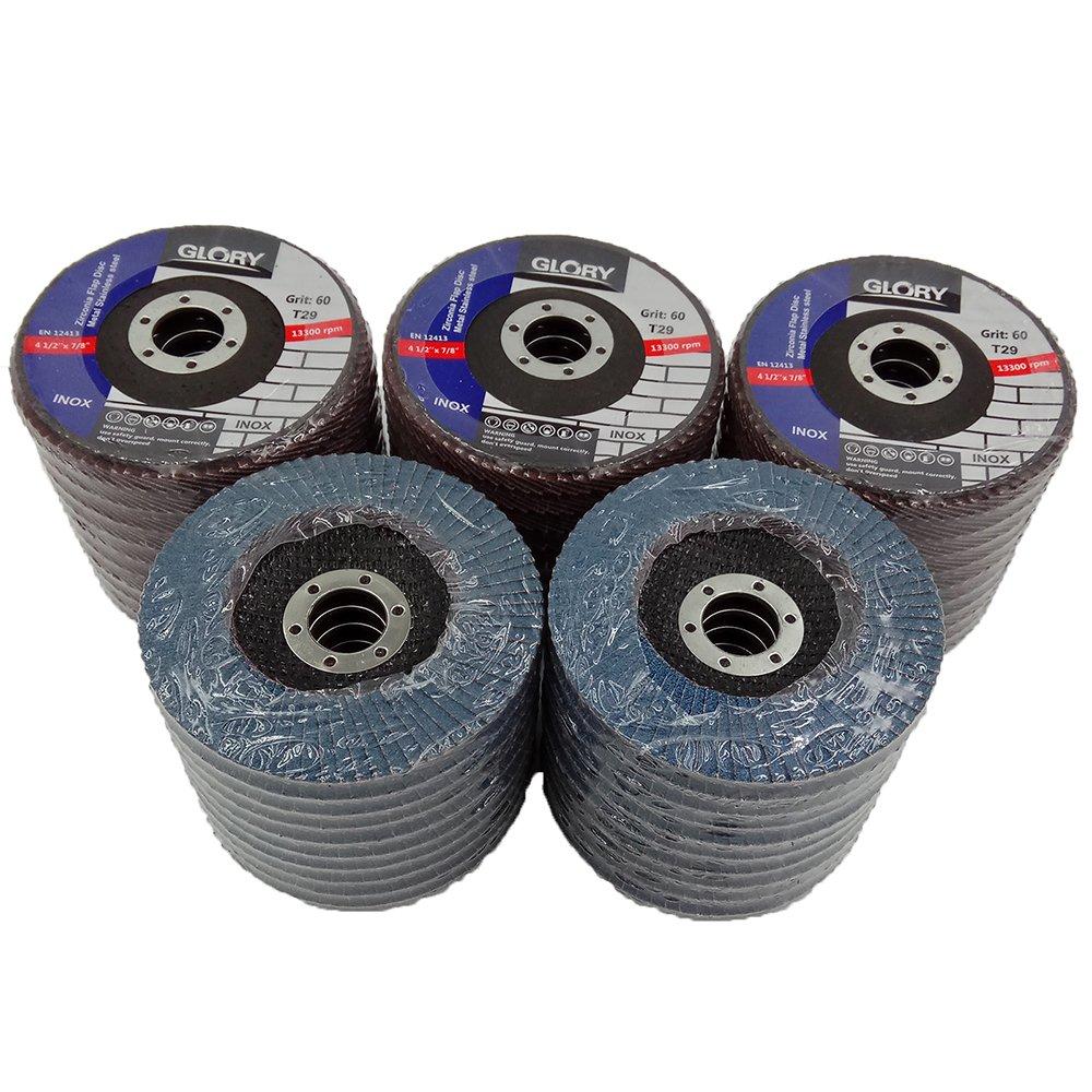 Premium Zirconia Flap Disc 4-1/2'' X 7/8'' 60 GRIT Pack of 50 by MarsIndustry
