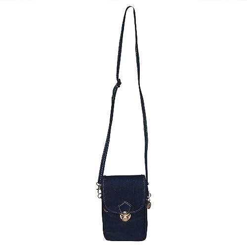 809ae573752 SHOPATHON INDIA Women's Denim Adjustable Long Belt Smartphone Sling Bag  with Lock (Blue)