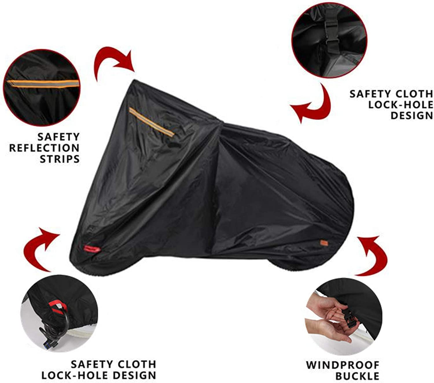 MORNYRAY Bike Cover Outdoor Waterproof All Weather Rain Sun UV Dust Wind Proof Bicycle Cover for Mountain Road Electric Bikes with Lock Hole Storage Bag