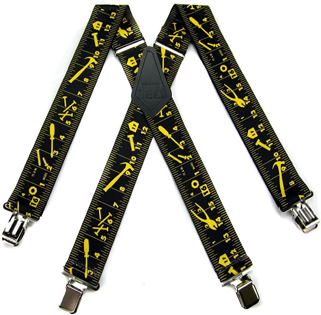Made in the USA Black Ruler Durable Mens Suspenders Yellow Worker