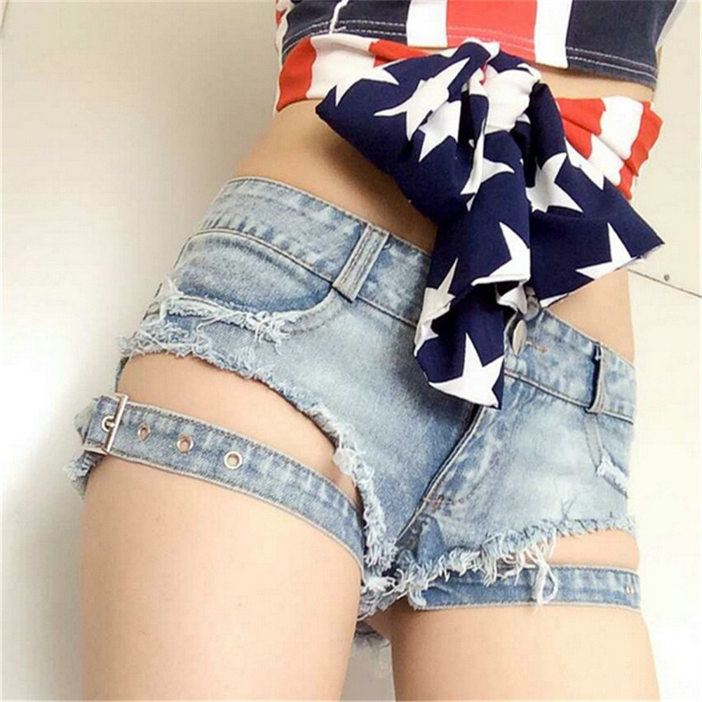 Yollmart Womens Low Rise Mini Denim Shorts Denim Thong Cheeky Jeans Shorts