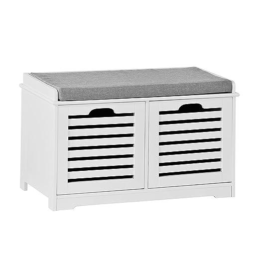 SoBuy Banco de Almacenamiento con Cojines y 2 Cubos de Entrada del Gabinete Dresser Zapato Cómodo Banco FSR23-KW, ES (Zapatero)