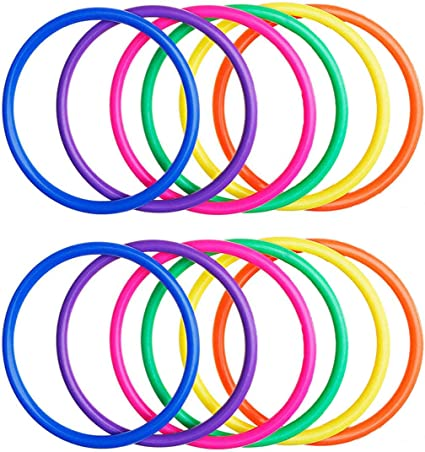 Random Colors 7 Inch OBTANIM 12 Pcs Plastic Ring Toss Game for Kids and Outdoor Toss Rings for Speed and Agility Practice Games