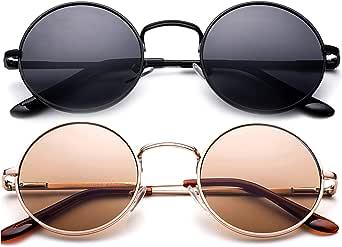 Round Retro John Lennon Sunglasses & Clear Lens Glasses Vintage Round Sunglasses