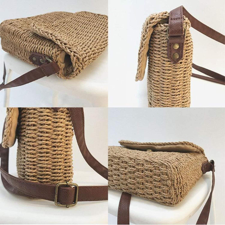 Rattan Women Shoulder Bags Wicker Straw Bags for Women Handmade Woven Lady Crossbody Bag