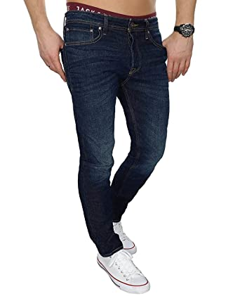 JACK   JONES Herren Jeans jjiTIM 085 Used Look Blue Denim Elasthan Slim Fit  (Blau dc4b672b6c