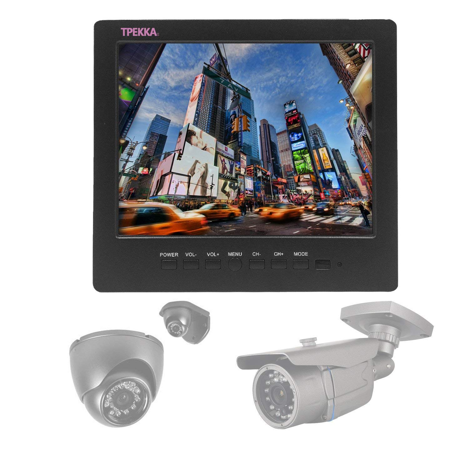8'' Inch 4:3 Portable Monitor TFT LCD Car Monitor VGA BNC RCA Input TPEKKA 800x600 Monitor Screen for PC Display CCTV Security Cam DV Bcak Up Cam System FPV by TPEKKA (Image #4)