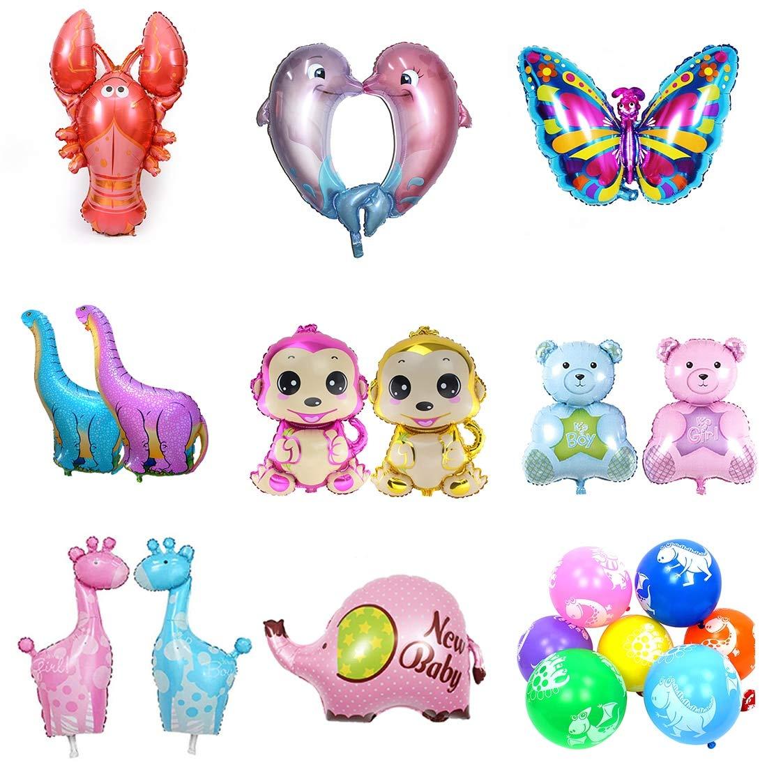 Luwu-Store 9 Arten Kinder Spielzeug groß e Cartoon Tier Folienballons Schmetterling AFFE Wal Hummer Bä r Ballons fü r Kinder Geburtstag Party Decor