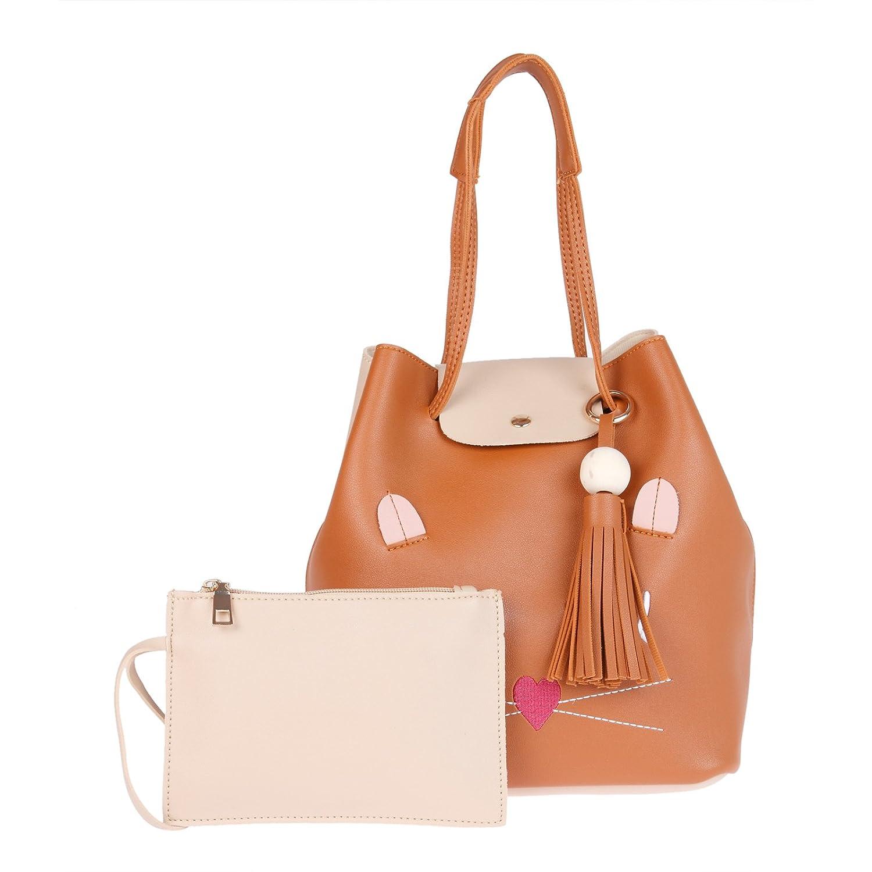 0032dde7f600 Fur Jaden Tan Ladies Bucket Tote Handbag for Woman  Amazon.in  Shoes    Handbags