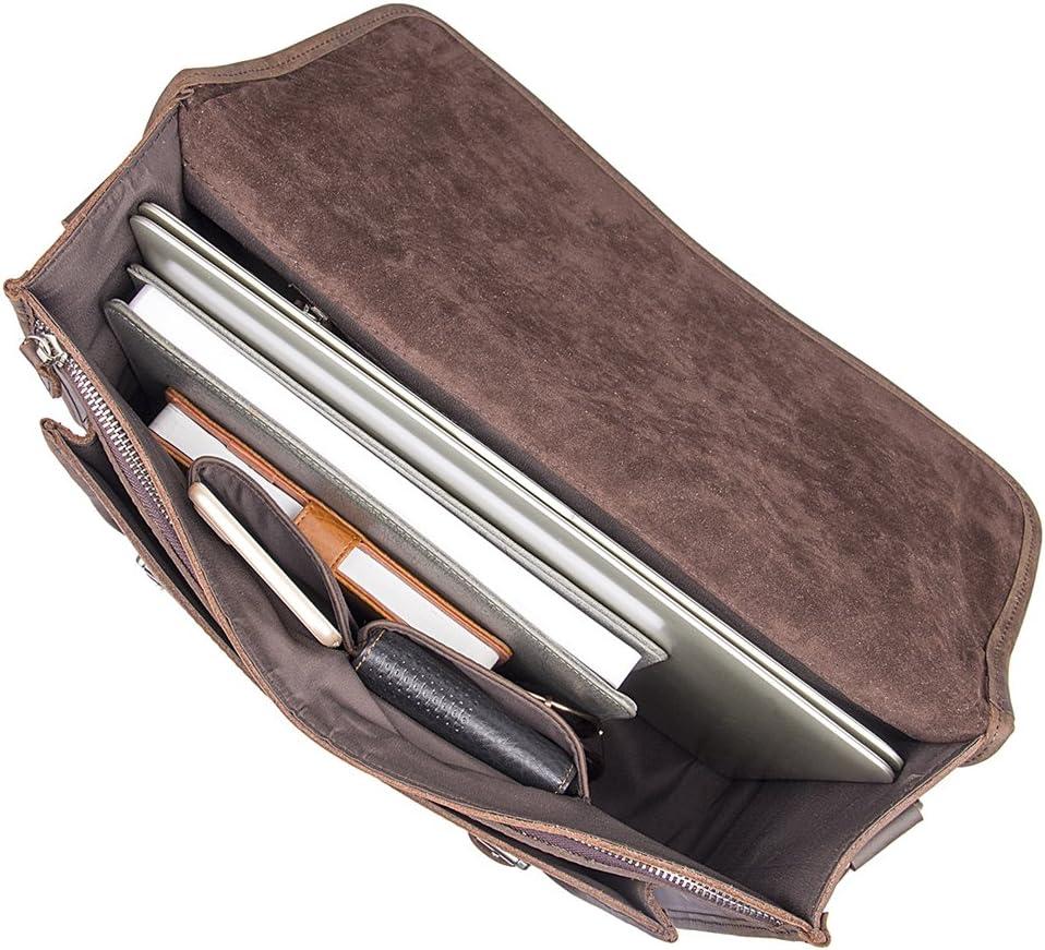 Genda 2Archer Mens Vintage Leather Briefcase Tote Bags Fit 14 Laptop