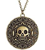 COLLANA PIRATES OF THE CARIBBEAN JOHNNY DEPP COLORE BRONZO-ORO TESCHIO OSSE AZTECO DI CORTEZ JACK SPARROW - ADATTO PER UOMO E DONNA