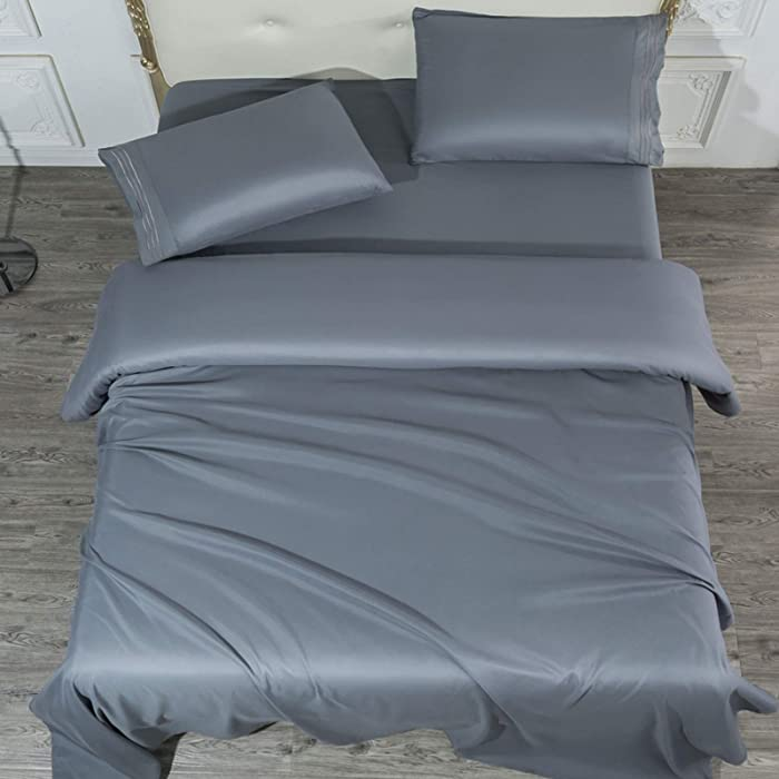 SONORO KATE Bed Sheet Set Super Soft Microfiber 1700 Thread Count Luxury Egyptian Sheets 16-Inch Deep Pocket,Wrinkle-4 Piece (Dark Grey, Queen)