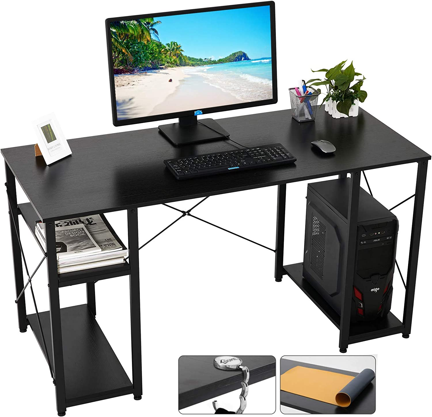 Gome Computer Desk with Shelves Storage, 55