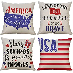 "LEVOSHUA 4 Pack American Flag Pillowcase Throw Pillow Case Cushion Cover Patriotic 4th of July Cotton Linen Pillowcase Home Decorative for Sofa 18"" x 18"""