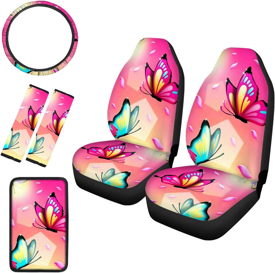 Cozeyat Dolphin Car Seat Protector 6 Pieces Set,2pc Front Seat Cover 1pc Steering Wheel Cover+2pc Car Seat Belt Cushions+1pc Car Armrest Center Pad,Universal Fit Car Interior Decoration