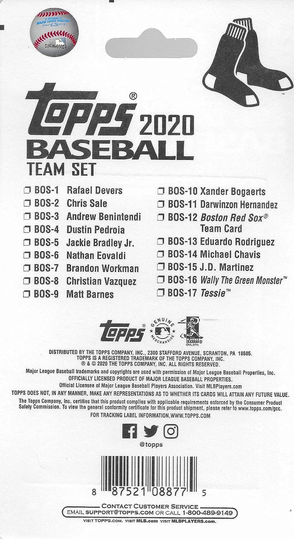 Andrew Benintendi et Xander Bogaerts Plus Boston Red Sox 2020 Topps Factory Scell/é /Édition limit/ée 17 Cartes avec Rafael Devers