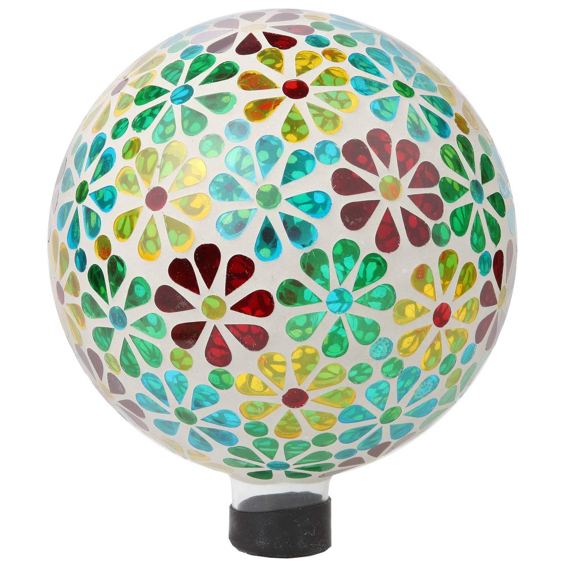 Lily's Home Colorful Mosaic Glass Gazing Ball, Designed with a Stunning Holographic Petal Mosaic Pattern to Bring Color to Any Home and Garden (10 Inches Dia.)