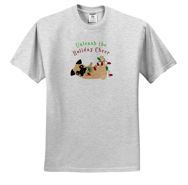 Cute Pug 3dRose Janna Salak Designs Christmas Adult T-Shirt XL Unleash The Holiday Cheer ts/_310739