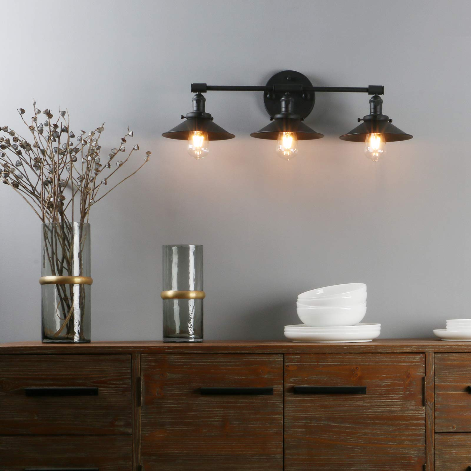 """Phansthy Vanity Lights 3 Lights Wall Sconce with 7.87""""Metal Lamp Shade (Matte Black) by Phansthy (Image #8)"""