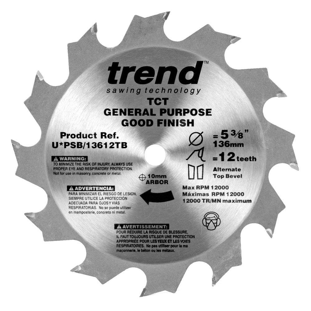 Trend PSB/13612TB Professional Saw Blade 5-3/8-Inch by 12 Tooth, 10mm Bore Thin Kerf Cordless Trim Saw Blade