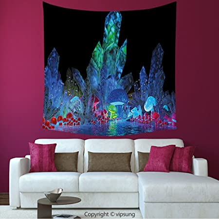 Psychedelic Wall Hanging Tapestry Magic Crystals Background Tapestry Art Decor