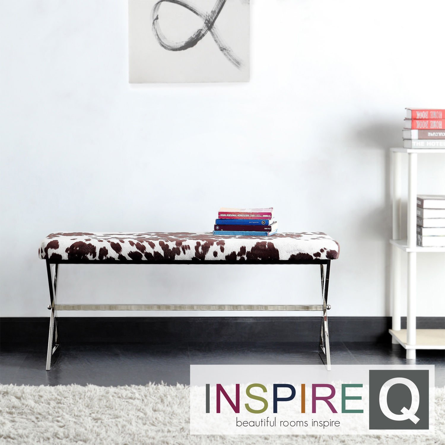 Amazon.com: Metro Shop INSPIRE Q Southport Cowhide Print 40-inch Metal Bench:  Kitchen & Dining