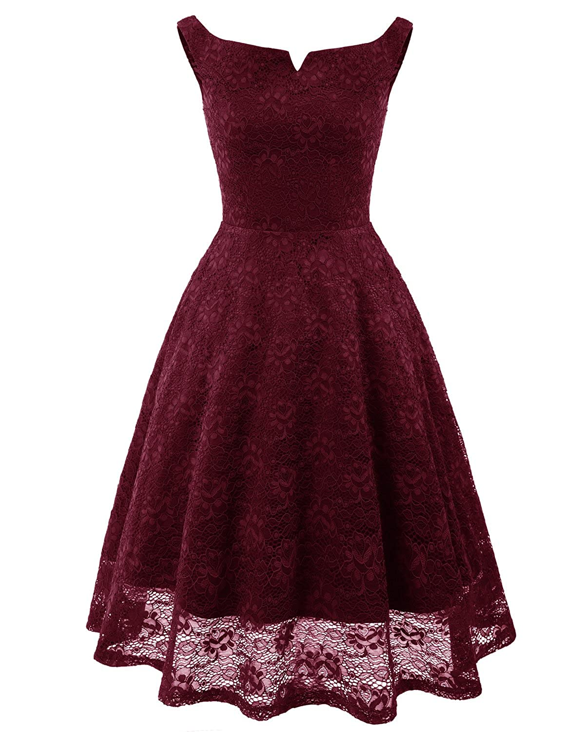 6dfe7ee5aadc Bright Deer Women Bardot Lace Vintage Midi Skater Dress Party ...