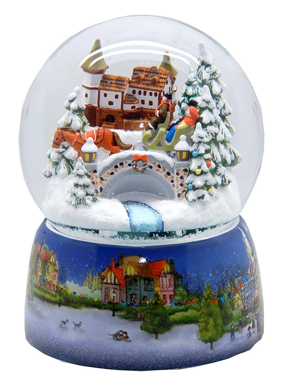 20067 Mega-Schneekugel Mega-Schneekugel Mega-Schneekugel Nostalgische Schlittenfahrt Porzellansockel Weihnachtsmarkt 150mm Diameter Snowmotion und Musik-Spieluhr 929ee1