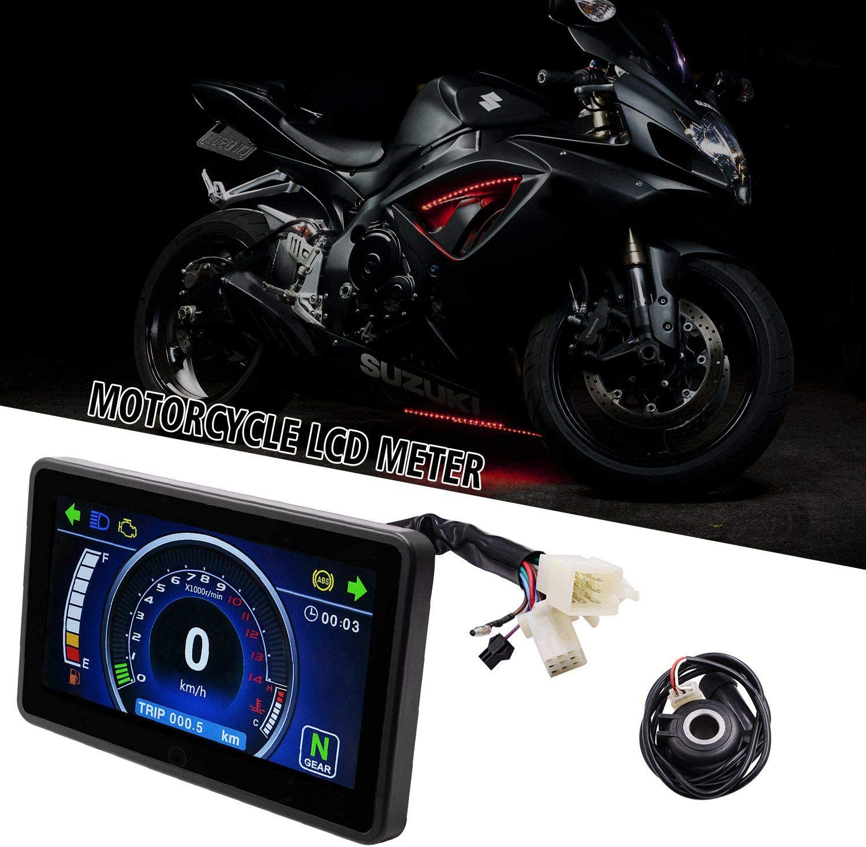 Farbe: Schwarz Nrpfell Universal Motorrad Vollfarb LCD Display Multifunktion Kombiinstrument Austauschbare 12V Digital Tacho Display Instrument