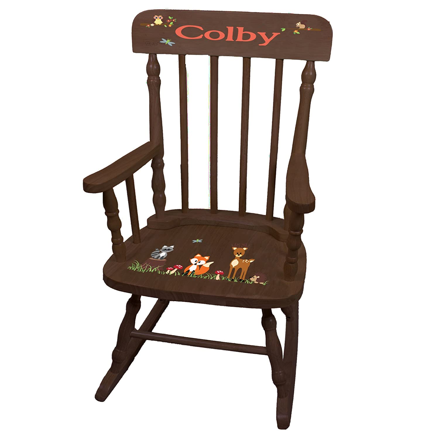 Personalized Coral Forest Animals Espresso Childrens Rocking Chair