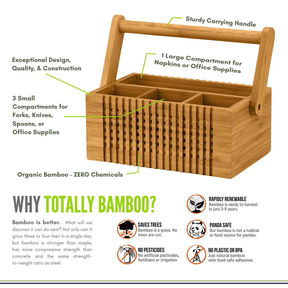 Totally Bamboo Lattice Flatware Caddy with Handle by Totally Bamboo (Image #2)