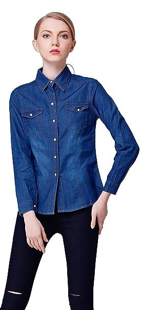 EOZY Camisa de Mezclilla/Blusa con Manga Largo para Mujer Casual Azul Oscuro Asia M