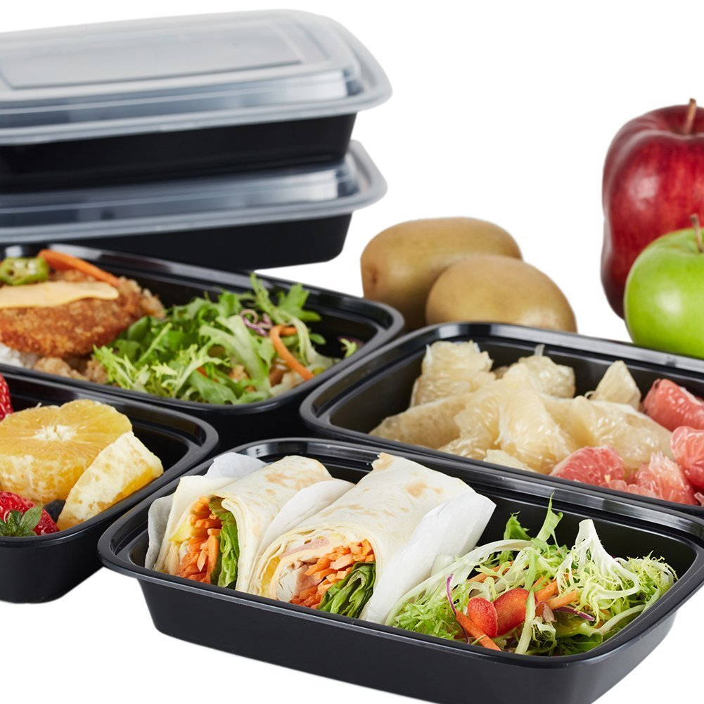 NutriBox [20 Value Pack] single one compartment 20 OZ Meal Prep Plastic Food Storage Containers - BPA Free Reusable Lunch Bento Box - Microwave, Dishwasher and Freezer Safe - For School Work or Trips
