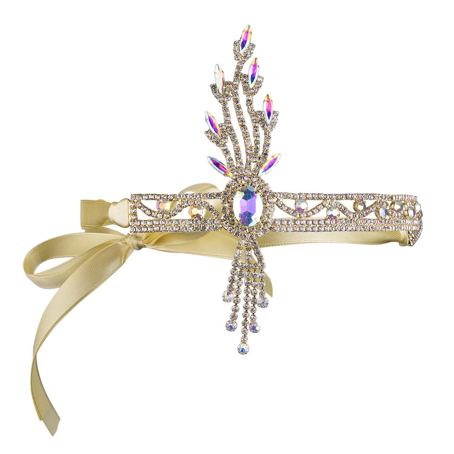 BABEYOND Bling Silver-Tone The Great Gatsby Inspired Leaf Crystal Headband Hair Tiara (Gold)