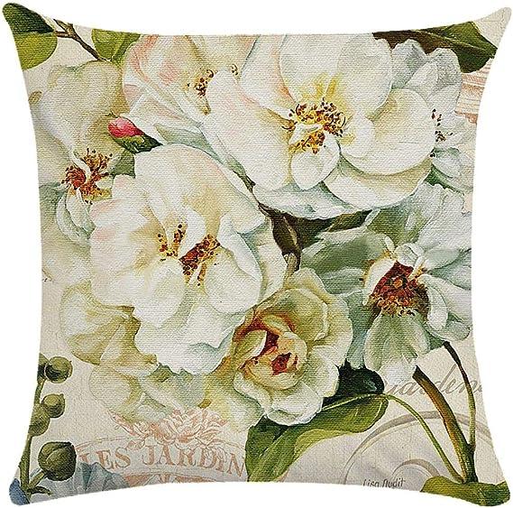 Image ofCaogsh - 2 fundas de almohada de felpa corta para cojín lumbar, sofá, almohada, almohada retro con diseño de pájaros y flores, algodón mixto, Zt002750, 50x50cm(Double-sided printing)