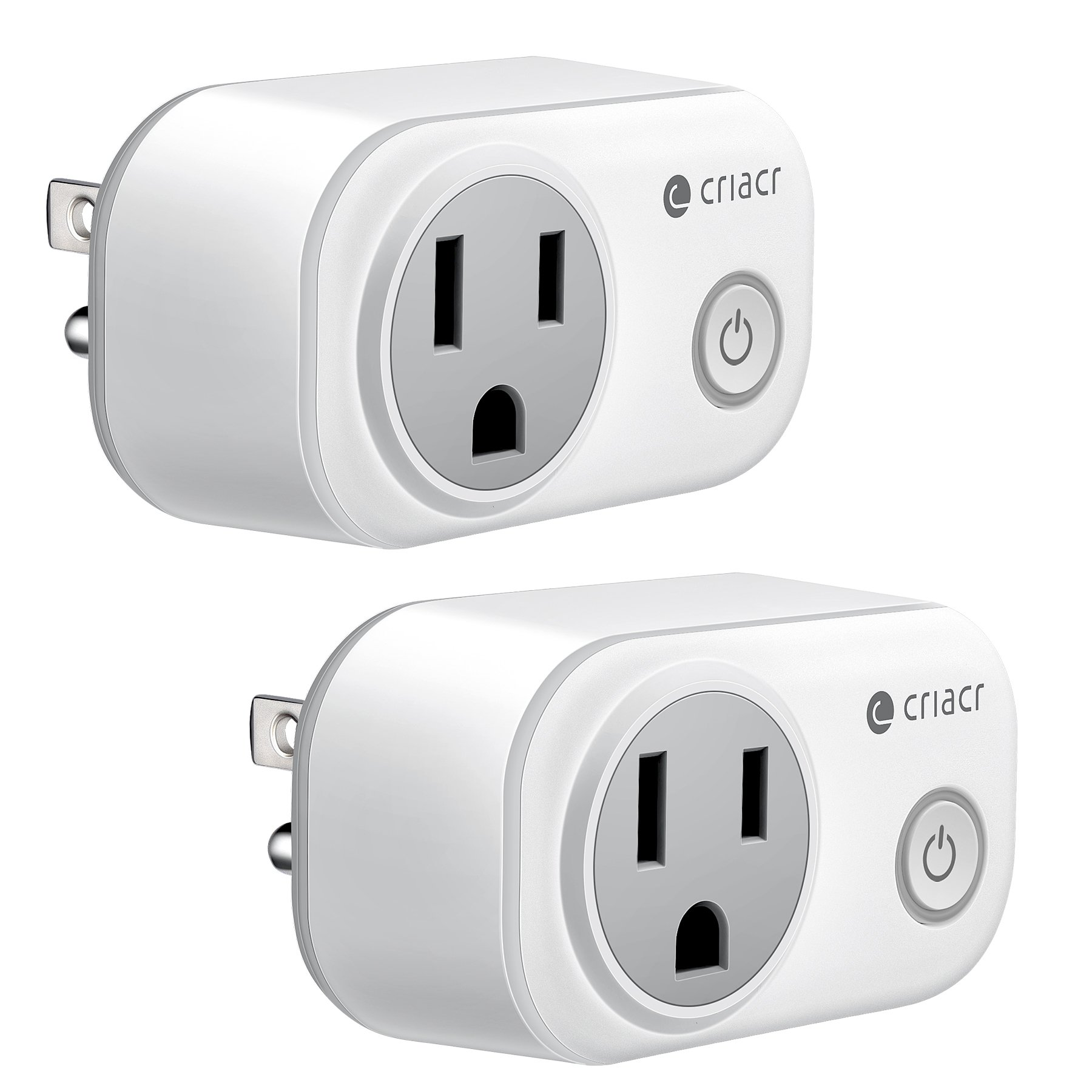 Criacr Smart Plug, WiFi Wireless Control Mini Sockets with Energy Monitoring, Timing Function, Work with Amazon Alexa and Google Home, Remote Control by Smartphone from Anywhere (2 PACK, White)
