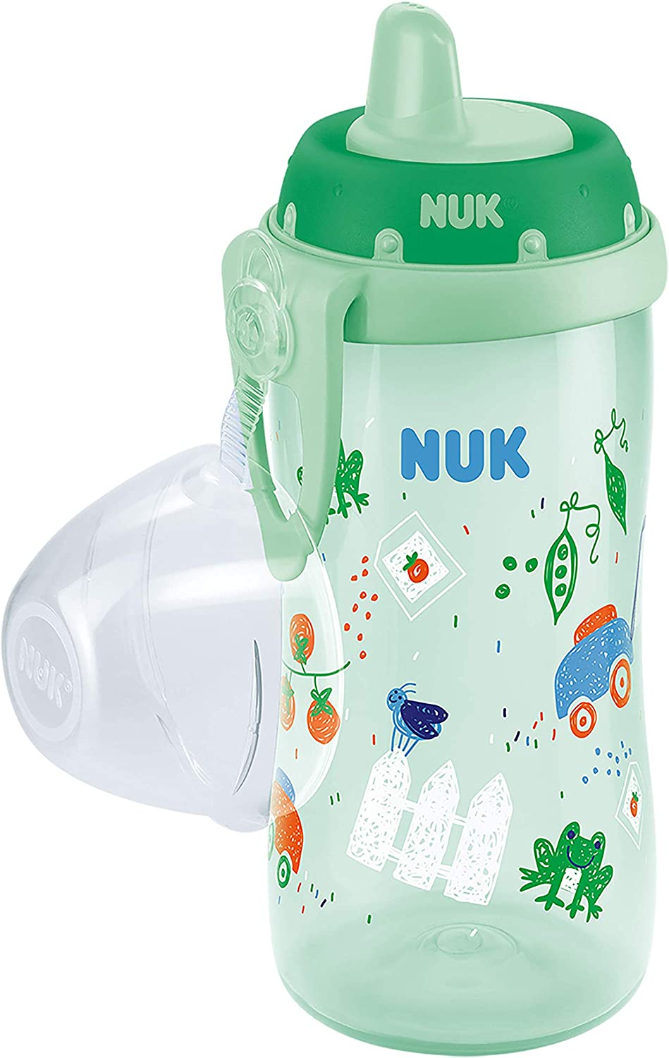 Clip /& Protective Cap NUK First Choice+ Kiddy Cup Toddler Cup Leak-Proof Toughened Spout 12 Months+ Pink Garden BPA-Free 300 ml