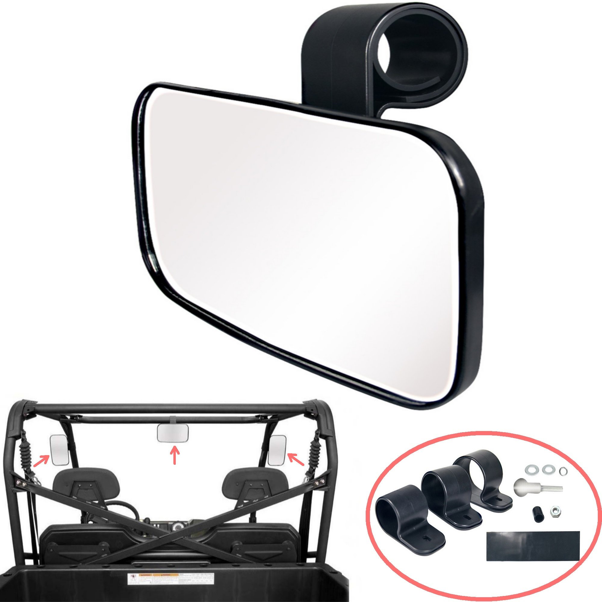AVOMAR Adjustable UTV Clear Rear View Center Mirror, Center/Side Mirror High Impact ABS Housing with Shatter-Proof Tempered Glass Mirror