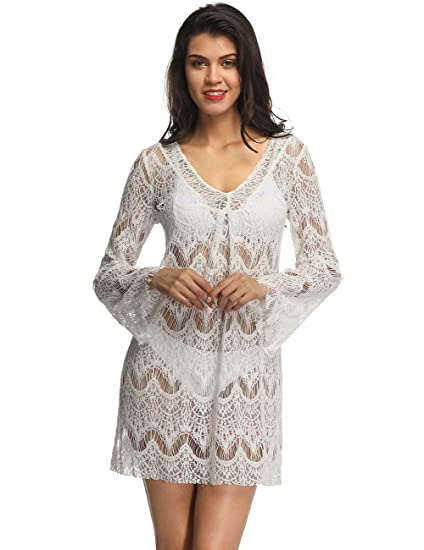 faefd74b436 Fancyqube Women s Sexy Sheer Shirts See Through Lace Bikini Cover up Beach  Dress White S
